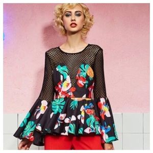 Tops - Floral Colorful Mesh Peplum Top